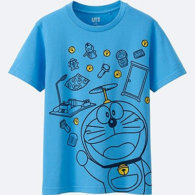 KIDS DORAEMON SHORT SLEEVE GRAPHIC T-SHIRT, BLUE, medium
