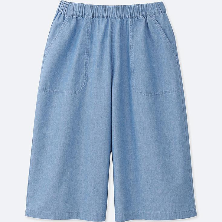 GIRLS CHAMBRAY EASY GAUCHO PANTS, BLUE, large