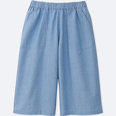 GIRLS CHAMBRAY EASY GAUCHO PANTS, BLUE, medium