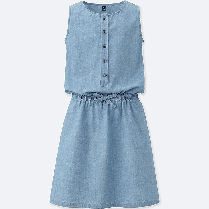 GIRLS CHAMBRAY SLEEVELESS DRESS, BLUE, large