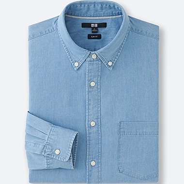 MEN Denim Slim Fit Long Sleeve Shirt