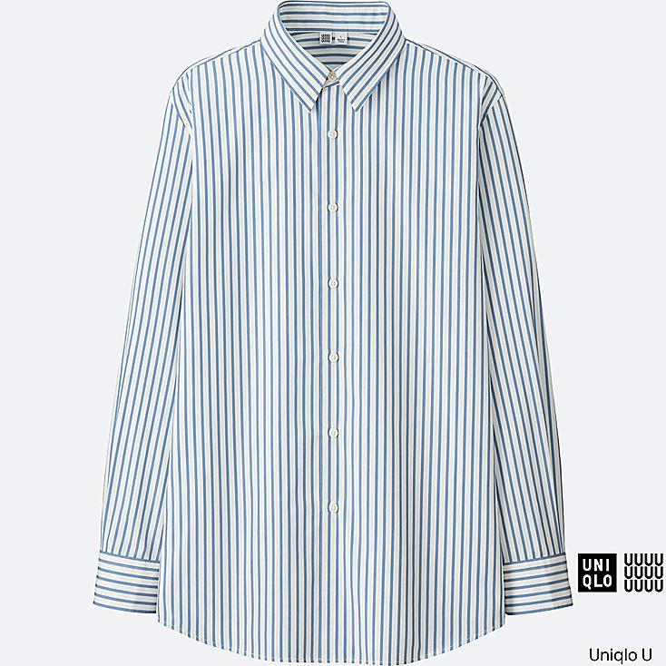 MEN U EXTRA FINE COTTON BROADCLOTH STRIPED LONG-SLEEVE SHIRT, BLUE, large