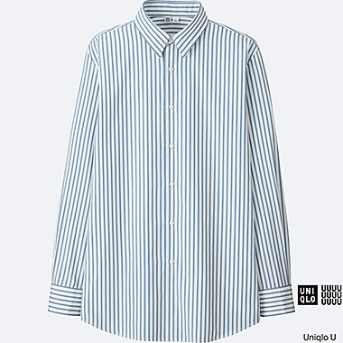 MEN U EXTRA FINE COTTON BROADCLOTH STRIPED LONG-SLEEVE SHIRT, BLUE, medium