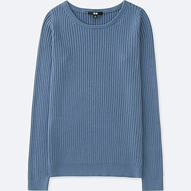 WOMEN COTTON CASHMERE RIBBED SWEATER, BLUE, medium