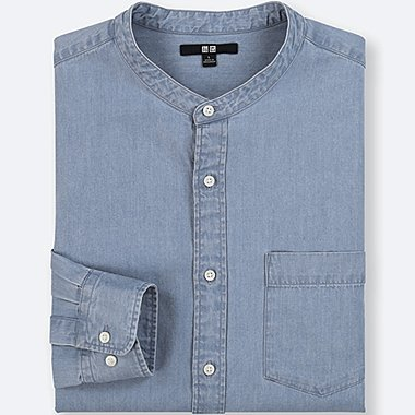 MEN DENIM STAND COLLAR LONG-SLEEVE SHIRT, BLUE, medium