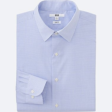 MEN EASY CARE SLIM-FIT CHECKED LONG-SLEEVE SHIRT, BLUE, medium