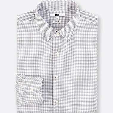 MEN EASY CARE CHECKED STRETCH SLIM FIT SHIRT (NO POCKET)