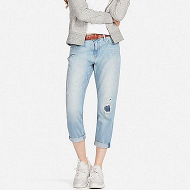 WOMEN SLIM BOYFRIEND-FIT ANKLE JEANS, BLUE, medium