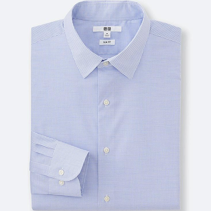 MEN EASY CARE CHECKED SLIM-FIT LONG-SLEEVE SHIRT, BLUE, large
