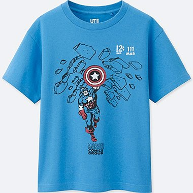 BOYS MARVEL COLLECTION SHORT-SLEEVE GRAPHIC T-SHIRT, BLUE, medium