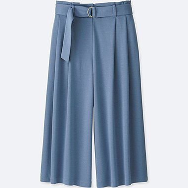 WOMEN BELTED WIDE CROPPED TROUSERS