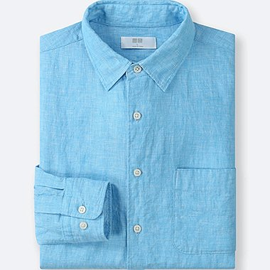MEN PREMIUM LINEN LONG-SLEEVE SHIRT, BLUE, medium