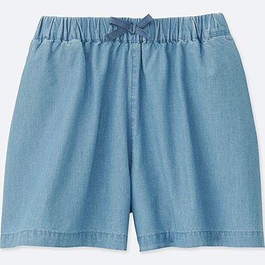 GIRLS CHAMBRAY EASY FLARE SHORTS