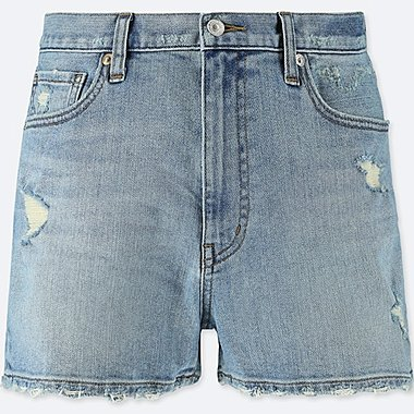 WOMEN HIGH-RISE DENIM VINTAGE SHORTS, BLUE, medium