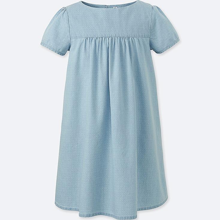 GIRLS CHAMBRAY SHORT-SLEEVE DRESS | Tuggl