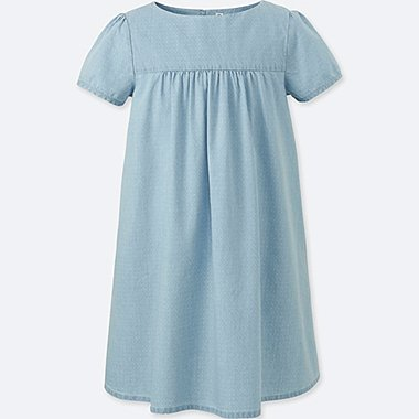 GIRLS CHAMBRAY SHORT SLEEVE DRESS