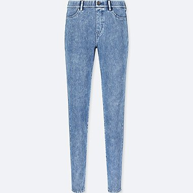 WOMEN DENIM LEGGINGS PANTS, BLUE, medium
