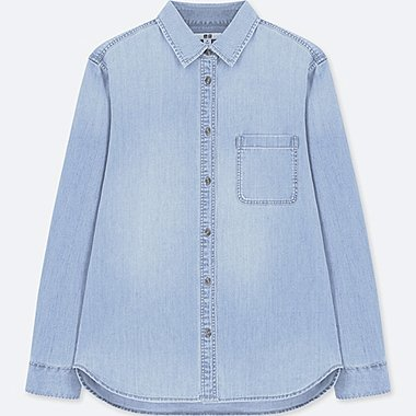 WOMEN DENIM LONG-SLEEVE SHIRT (ONLINE EXCLUSIVE), BLUE, medium