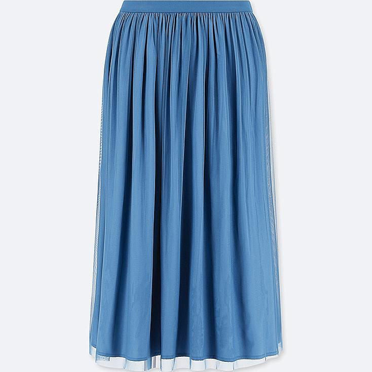 WOMEN REVERSIBLE TULLE SKIRT, BLUE, large