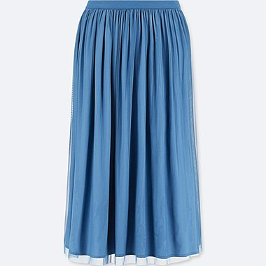 WOMEN REVERSIBLE TULLE SKIRT, BLUE, medium