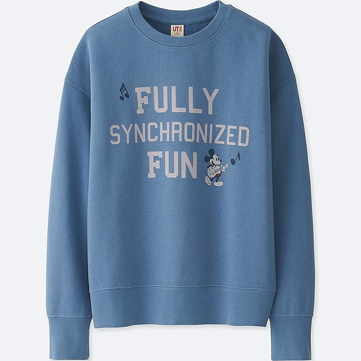 WOMEN SOUNDS OF DISNEY LONG-SLEEVE PULLOVER SWEATSHIRT, BLUE, large
