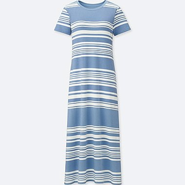 WOMEN STRIPED SHORT-SLEEVE LONG BRA DRESS, BLUE, medium