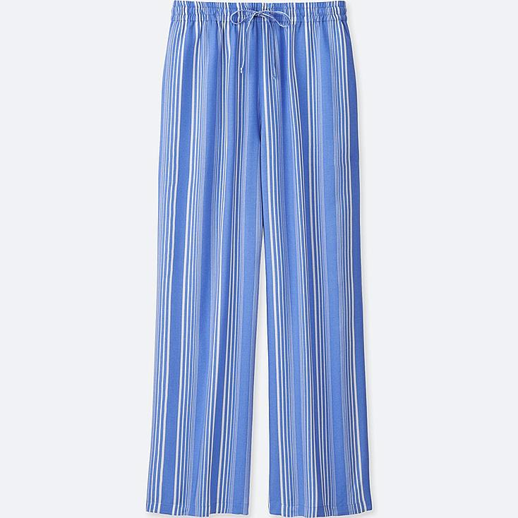 WOMEN DRAPE WIDE PANTS, BLUE, large