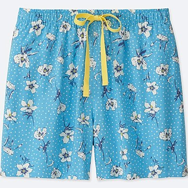 WOMEN DOT FLOWER RELACO SHORTS, BLUE, medium