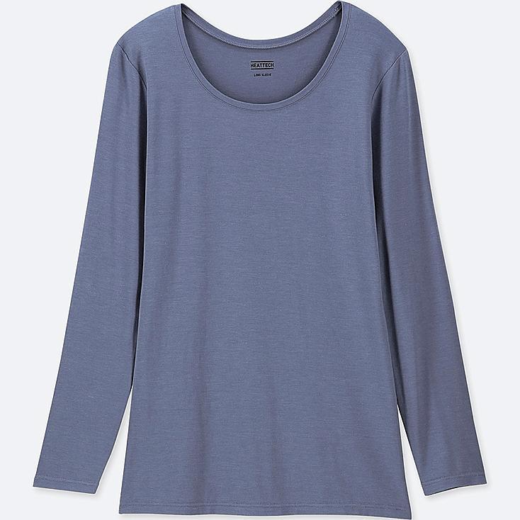 WOMEN HEATTECH CREW NECK LONG-SLEEVE T-SHIRT, BLUE, large