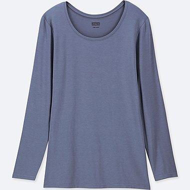 WOMEN HEATTECH CREWNECK LONG-SLEEVE T-SHIRT, BLUE, medium