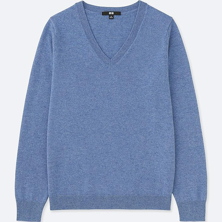 WOMEN CASHMERE V-NECK SWEATER, BLUE, large