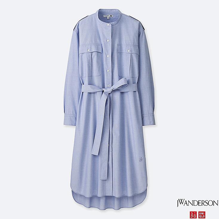 WOMEN JWA EXTRA FINE COTTON LONG-SLEEVE SHIRT DRESS, BLUE, large