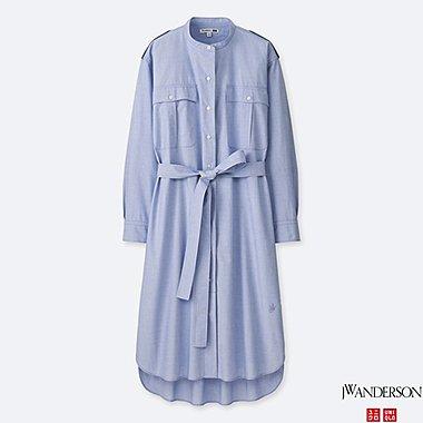 WOMEN JWA EXTRA FINE COTTON LONG-SLEEVE SHIRT DRESS, BLUE, medium