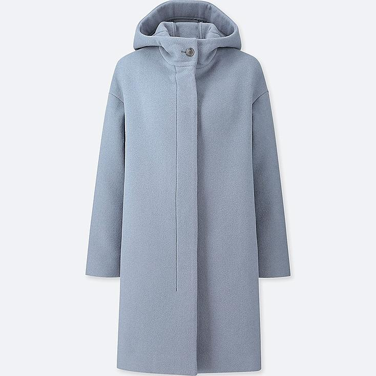 WOMEN LIGHTWEIGHT WOOL-BLEND HOODED COAT, BLUE, large