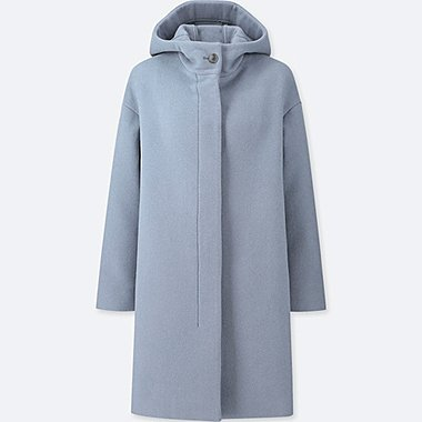 WOMEN LIGHTWEIGHT WOOL-BLEND HOODED COAT, BLUE, medium