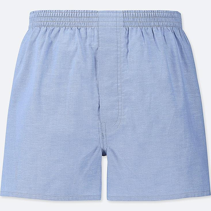 MEN WOVEN LIGHT OXFORD BOXERS, BLUE, large
