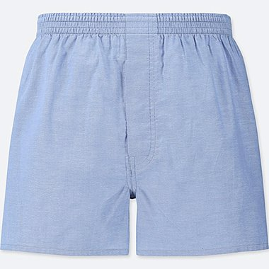 MEN WOVEN LIGHT OXFORD BOXERS, BLUE, medium