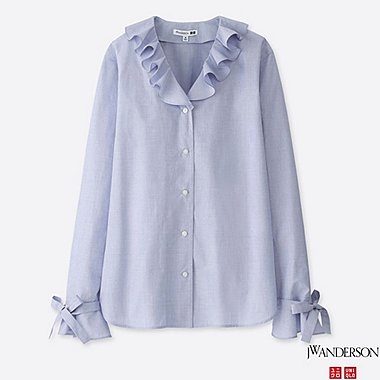 women j.w. anderson extra fine cotton long-sleeve blouse