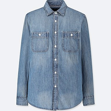 MEN DENIM WORK SLIM FIT LONG SLEEVE SHIRT