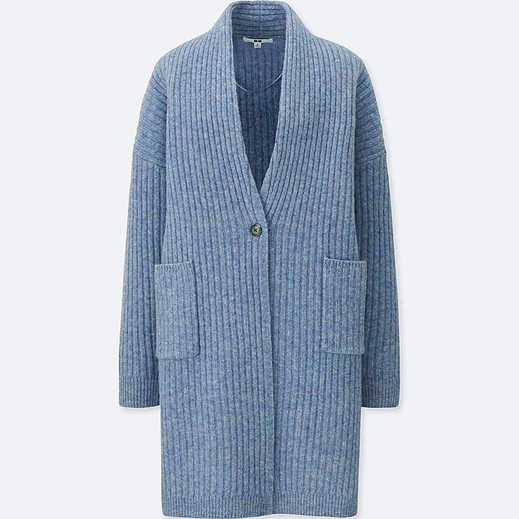 WOMEN WOOL RIBBED KNITTED COAT, BLUE, large