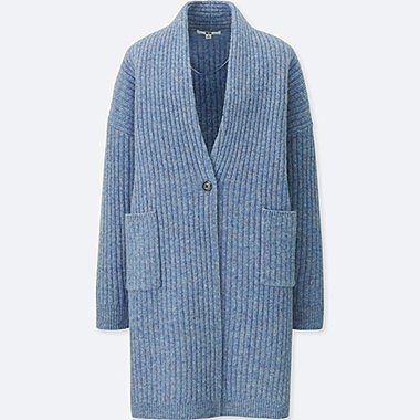 WOMEN WOOL RIBBED KNITTED COAT, BLUE, medium
