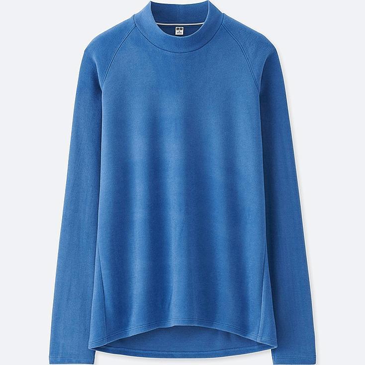 WOMEN HEATTECH STRETCH FLEECE MOCK NECK LONG-SLEEVE T-SHIRT, BLUE, large