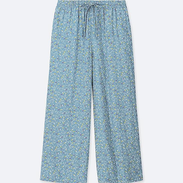 WOMEN FLORAL-PRINT DRAPE WIDE PANTS, BLUE, large