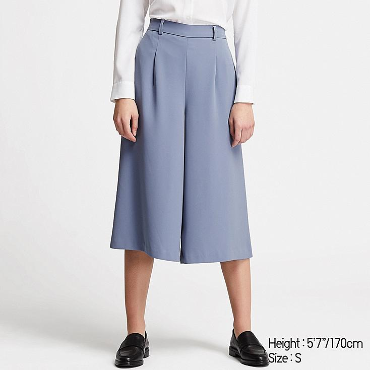 WOMEN DRAPE WIDE CROPPED PANTS (ONLINE EXCLUSIVE), BLUE, large