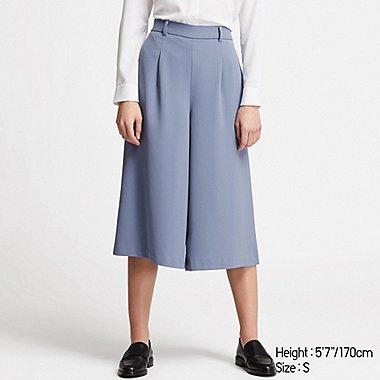 WOMEN DRAPE WIDE CROPPED PANTS (ONLINE EXCLUSIVE), BLUE, medium