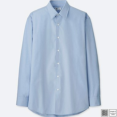MEN U BROADCLOTH LONG-SLEEVE SHIRT, BLUE, medium