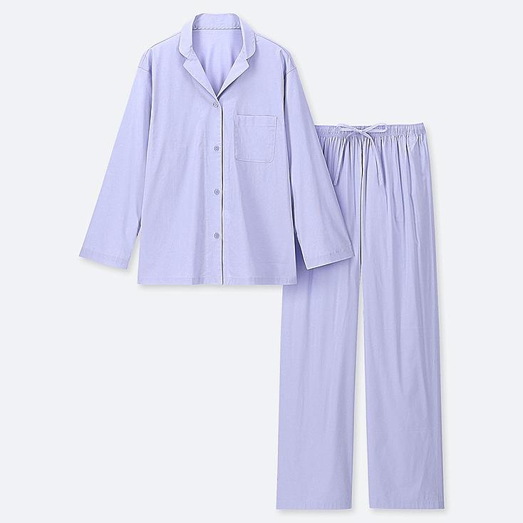 WOMEN SOFT STRETCH LONG-SLEEVE PAJAMAS, BLUE, large