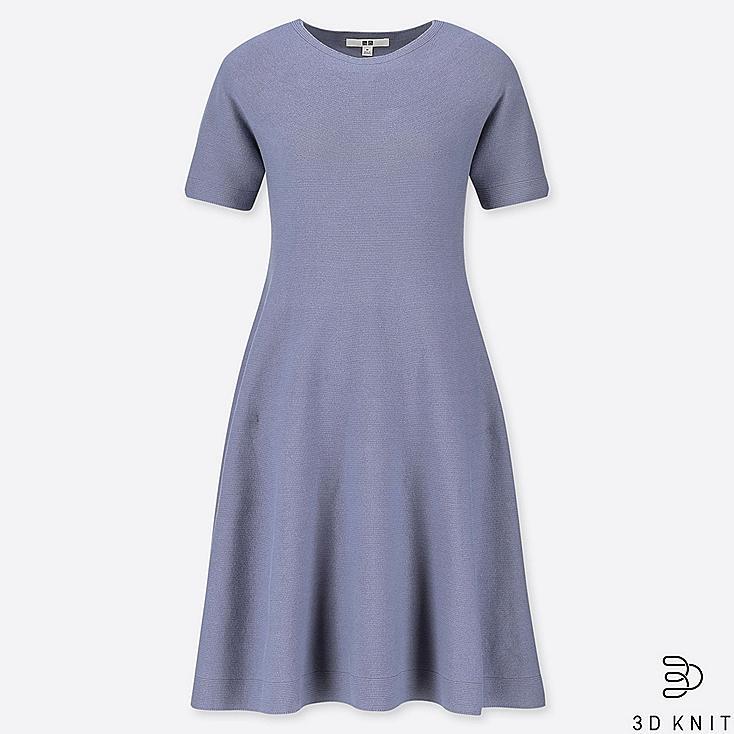 WOMEN 3D COTTON FLARE SHORT-SLEEVE DRESS, BLUE, large