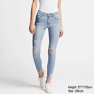WOMEN DAMAGED ULTRA STRETCH JEANS, BLUE, medium