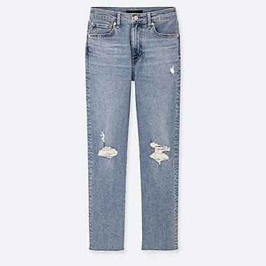 WOMEN HIGH RISE STRAIGHT FIT DISTRESSED JEANS